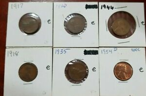 LOT OF 6 OLDER DATE LINCOLN PENNIES 1917 1918 1920 1935 1944 1954D