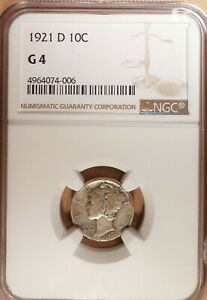 1921 D MERCURY DIME NGC GRADED G 4 GREAT SEMI KEY DATE