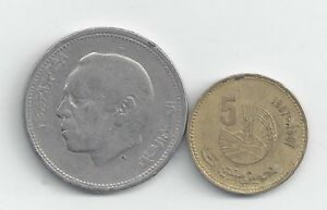 2 DIFFERENT COINS FROM MOROCCO   5 SANTIMAT & 1 DIRHAM  BOTH 1987