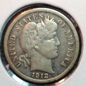 1912 P  VF XF  BARBER DIME    NICE COIN
