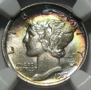 1917 MS62 FB NGC MERCURY DIME SUPER EYE APPEAL FSB SPLIT BANDS