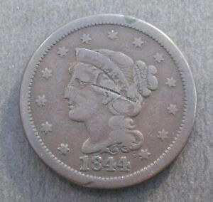 1844 BRAIDED HAIR LARGE CENT       NICE DETAILS & COLOR      P1458