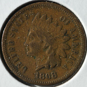 1868 1C INDIAN HEAD CENT  DATE CIRCULATED CHOICE GOOD VG