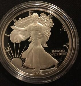 1989 S PROOF AMERICAN SILVER EAGLE   1 TROY OZ .999 WITH COA AND OGP
