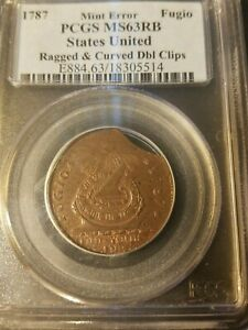 1787 FUGIO CENT   MINT ERROR   RAGGED & CURVED DBL. CLIPS   STATES UNITED   PCGS