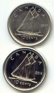 CANADA 2007 AND 2014 DIME CANADIAN 10 CENT PIECE 10C TEN CENTS EXACT SET SHOWN