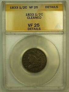Click now to see the BUY IT NOW Price! 1833 CLASSIC HEAD HALF CENT ANACS VF 25 DETAILS CLEANED  UNCLEANED IMO