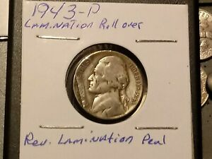 1943 P JEFFERSON NICKEL   POST MINT STRIKE FOLD OVER LAMINATION ERROR.