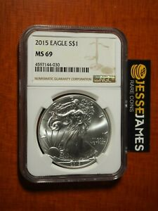 2015 $1 AMERICAN SILVER EAGLE NGC MS69 CLASSIC BROWN LABEL