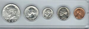 1964P US MINT 5 COIN SET ALL 90  SILVER EXCEPT NICKEL CENT PLUS FREE SAC $