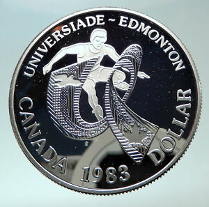 Click now to see the BUY IT NOW Price! 1983 CANADA UK QUEEN ELIZABETH II EDMONTON WORLD GAME PROOF SILVER $ COIN I82407