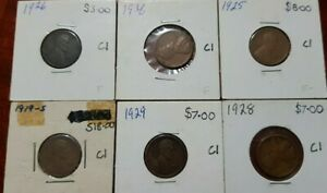 LOT OF 6 BETTER DATE LINCOLN PENNIES 1919S 1925 1926 1928 1929 &1936