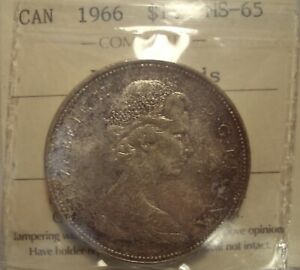 Click now to see the BUY IT NOW Price! CANADA ELIZABETH II 1966 LARGE BEADS SILVER DOLLAR   ICCS MS 65