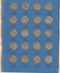 KAPPYS W4094 BUFFALO NICKEL COLLECTION LOT 1928D TO 1938D FINE TO XF 20 DIFF