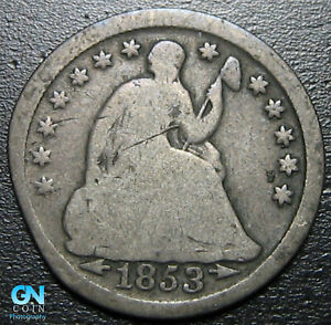 1853 P SEATED HALF DIME     MAKE US AN OFFER   P6532