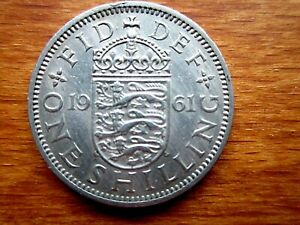 1961 ENGLISH SHILLING COIN GOOD USED CONDITION COPPER NICKEL.UNCLEANED GOOD 1