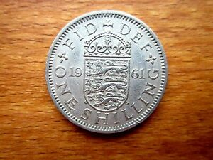 1961 ENGLISH SHILLING COIN GOOD USED CONDITION COPPER NICKEL.UNCLEANED GOOD