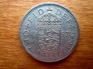 1957 ELIZABETH II ONE SHILLING COIN BRITISH COIN GOOD CIRCULATED CONDITION