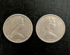 1967 & 1975 ELIZABETH II NEW ZEALAND   5 CENT LIZARD COINS TWO  2  COINS.