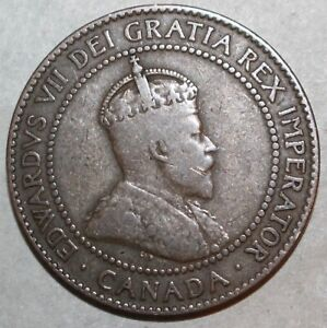 CANADIAN ONE CENT COIN 1910   KM 8   CANADA   KING EDWARD VII   1 PENNY