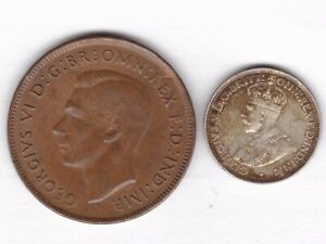 AUSTRALIA 1936 SIXPENCE   925 SILVER   1944 PENNY. BOTH VF   COMBO SHIPPING