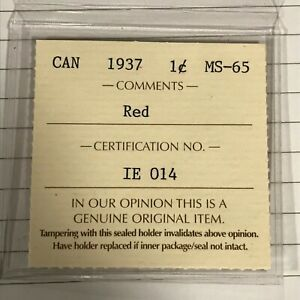 1937   CANADA ONE CENT PENNY   SPECIMEN   ICCS MS 65 RED