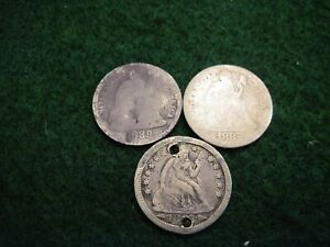 1889 1882 1853 SEATED DIMES THREE OLD US TYPE COINS
