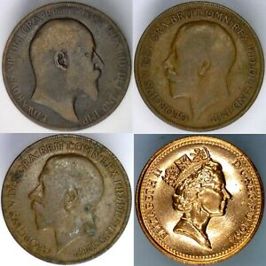 GREAT BRITAIN 4 COIN LOT  1 PENNY  VARIOUS DATES  VINTAGE GB EMPIRE COINS