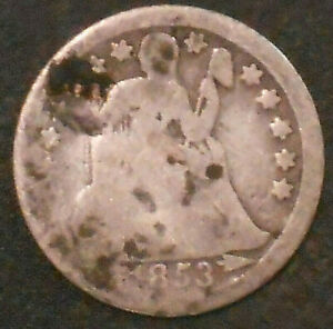 1853 P SILVER SEATED LIBERTY DIME.
