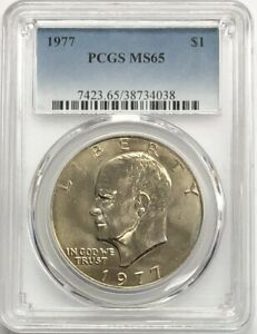 1977 EISENHOWER IKE DOLLAR $1 PCGS MS65   KEY DATE & HAND CHOSEN