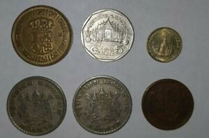 LOT OF SIX  6  UNIDENTIFIED ASIAN COINS