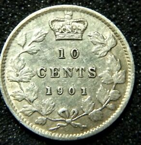 CANADA 1901 10 CENT DIME IN VF30 CONDITION.$82.J52