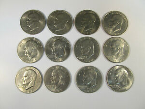 SET OF 12 EISENHOWER DOLLARS 1971 PD 1972 PD 1974 PD 1976 PD 1977 PD 1978 PD