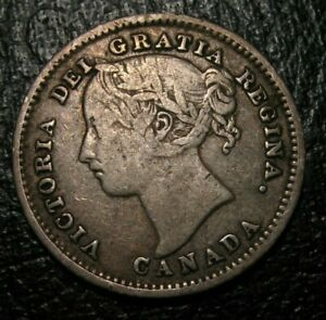 OLD CANADIAN COINS 1886 CANADA SILVER 10 CENTS NICE DETAILS