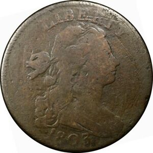 1803 1C DRAPED BUST LARGE CENT DOUBLE STRUCK REVERSE EX: REYNOLDS  COIN J