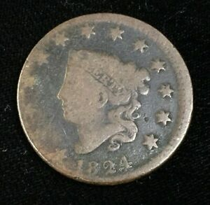 1824 OFF CENTER LARGE CENT LOWER GRADE US COIN