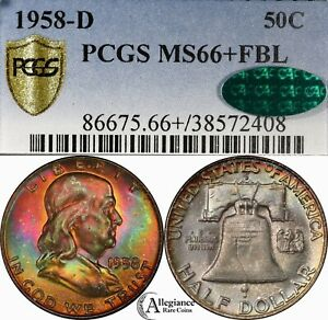 Click now to see the BUY IT NOW Price! 1958 D FRANKLIN HALF DOLLAR PCGS CAC MS66  FBL MONSTER RAINBOW TONED PLUS GRADE
