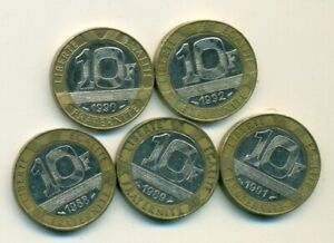 5 DIFFERENT BI METAL 10 FRANC COINS FROM FRANCE  CONSECUTIVE 1988 TO 1992