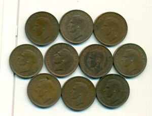 10 OLDER 1 FARTHING COINS FROM GREAT BRITAIN WITH CONSECUTIVE DATES OF 1939 1948