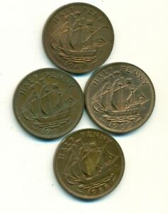 4 OLDER HALF PENNIES W/ SHIPS FROM GREAT BRITAIN W/ CONSECUTIVE DATES OF 1957 60
