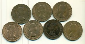 7 LARGE PENNIES FROM GREAT BRITAIN WITH CONSECUTIVE DATES OF 1961 1967