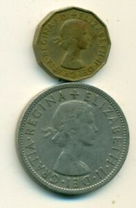 2 OLDER COINS FROM GREAT BRITAIN   3 PENCE & HALF CROWN  BOTH DATING 1957