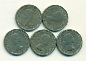 5 OLDER 6 PENCE COINS FROM GREAT BRITAIN WITH CONSECUTIVE DATES OF 1953 1957