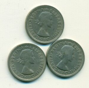 3 OLDER 6 PENCE COINS FROM GREAT BRITAIN  1959 1960 & 1961