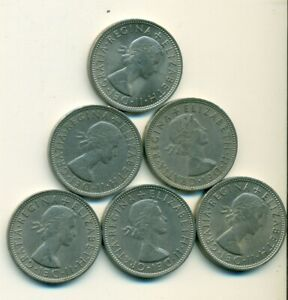 6   2 SHILLING COINS FROM GREAT BRITAIN WITH CONSECUTIVE DATES OF 1962 1967