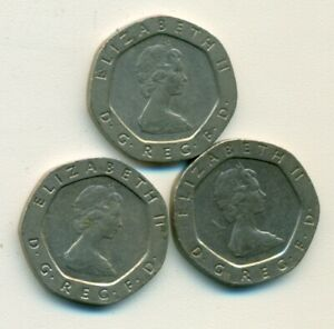 3 DIFFERENT 20 PENCE COINS FROM GREAT BRITAIN  1982 1983 & 1984