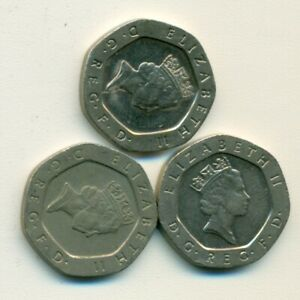 3 DIFFERENT 20 PENCE COINS FROM GREAT BRITAIN  1995 1996 & 1997