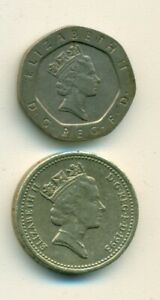 2 DIFFERENT COINS FROM GREAT BRITAIN   20 PENCE & 1 POUND  BOTH DATING 1993