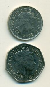 2 DIFFERENT COINS FROM GREAT BRITAIN   10 & 50 PENCE   BOTH DATING 2002