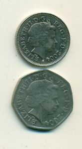 2 DIFFERENT COINS FROM GREAT BRITAIN   20 & 50 PENCE   BOTH DATING 2004